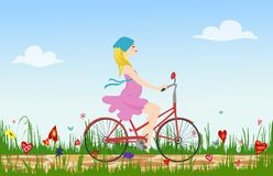 Pregnant young woman riding bike on spring flowering field. Cobbled path through blooming  meadow. Sunny summer composition. Vector illustration symbolizing Royalty Free Stock Image