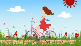 Pregnant young woman riding bike on spring flowering field. Cobbled path through blooming  meadow. Sunny summer composition. Vector illustration symbolizing Stock Images