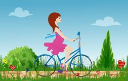 Pregnant young woman riding bike on spring flowering field. Cobbled path through blooming  meadow. Sunny summer composition. Vector illustration symbolizing Stock Photography