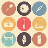 Pregnantcy flat icon set in color circles Stock Photography