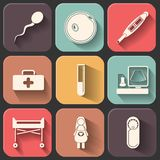 Pregnantcy flat icon set on color fade shadow effect.  Stock Photos