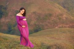 Pregnat woman hugging belly. On natural background stock photos