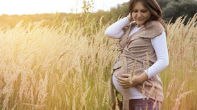 Pregnaut woman. Beautiful young pregnant woman on nature Royalty Free Stock Photography