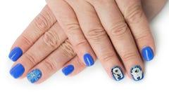 Prego do dedo com teste padrão do inverno Foto de Stock