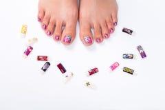 Prego do pé com elementos florais Fotografia de Stock