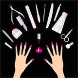 Prego e tratamento de mãos ilustração royalty free