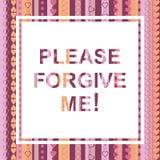 Prego perdonimi la carta Fotografia Stock Libera da Diritti
