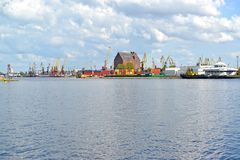 The Pregolya River overlooking the Kaliningrad trade seaport Royalty Free Stock Photos