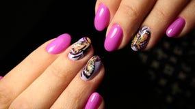 Pregos cor-de-rosa com cristais de rocha e borboleta Imagem de Stock