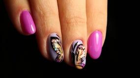 Pregos cor-de-rosa com cristais de rocha e borboleta Imagens de Stock