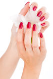 Pregos e dedos bonitos com flor Fotografia de Stock