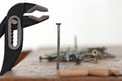 Pregos e um martelo Fotografia de Stock Royalty Free