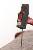 Pregos e um martelo Fotos de Stock