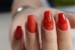 Pregos vermelhos bonitos Imagem de Stock Royalty Free
