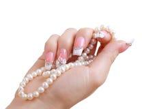 Pregue o manicure bonito da extensão Imagem de Stock Royalty Free