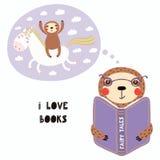 Preguiça bonito que lê um livro ilustração stock