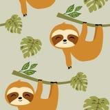 Preguiças no teste padrão sem emenda da selva tropical, no teste padrão bonito da repetição de Soth do bebê para o projeto de mat ilustração royalty free
