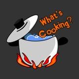 Pregunta: ¿Qué está cocinando? Imagen de archivo libre de regalías