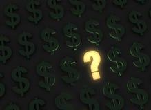 Pregunta brillante sobre finanzas sombrías Foto de archivo libre de regalías