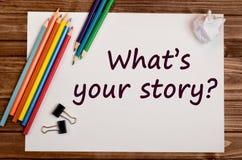 Pregunta cuál es su historia Imagen de archivo libre de regalías