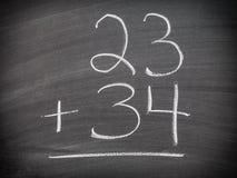 Pregunta de la adición de la matemáticas Fotos de archivo libres de regalías