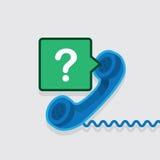Pregunta de la burbuja del discurso del teléfono ilustración del vector