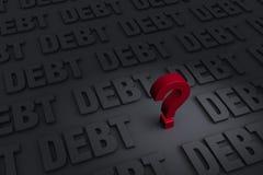 Pregunta de la deuda Fotografía de archivo