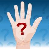 Pregunta de la mano Imagen de archivo libre de regalías
