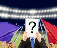 Pregunta del negocio en el estadio Imágenes de archivo libres de regalías