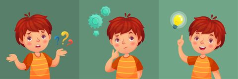 Pregunta del niño El muchacho joven pensativo hace la pregunta, niño confuso y entiende o encontró el retrato del vector de la hi libre illustration