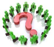 Pregunta global Trabajo en equipo Solucionando problemas juntos Foto de archivo