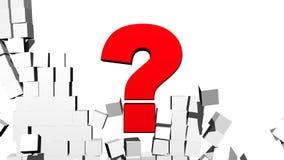 Pregunta Mark Breaking Through Block Wall stock de ilustración