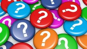 Pregunta Mark On Colorful Badges Foto de archivo libre de regalías