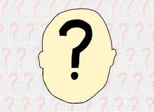 Pregunta Mark Inside Human Head Foto de archivo