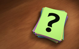 Pregunta Mark Paper Notes Stack Imágenes de archivo libres de regalías