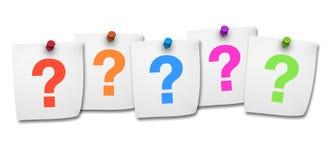 Pregunta Mark On Post It Fotografía de archivo libre de regalías