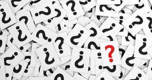 Pregunta Mark On Scattered Papers Foto de archivo libre de regalías