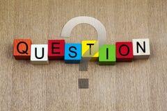 Pregunta - muestra de la educación y del negocio Fotografía de archivo libre de regalías