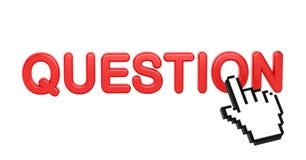 Pregunta - palabra roja 3D con el cursor de la mano. Foto de archivo libre de regalías