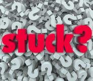 Pregunta pegada Mark Background Caught Problem de la palabra Imagenes de archivo