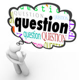 Pregunta Person Thinking Thought Bubble Wondering Fotos de archivo