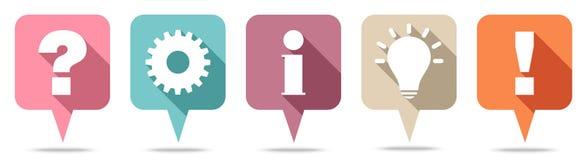 Pregunta, trabajo, información, idea y respuesta de Speechbubbles retros ilustración del vector
