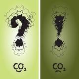 Pregunta y marca de exclamación con CO2 Foto de archivo libre de regalías
