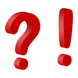 Pregunta y marca de exclamación (roja) Fotografía de archivo libre de regalías