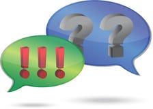 Pregunta y marcas de exclamación en burbujas del discurso Imagen de archivo