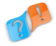 Pregunta y marcas de exclamación Foto de archivo libre de regalías