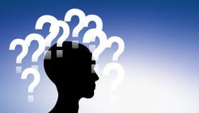 Preguntas alrededor de una cabeza stock de ilustración