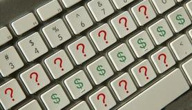 Preguntas del dinero Foto de archivo libre de regalías