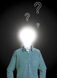 Preguntas del hombre de idea Fotografía de archivo libre de regalías