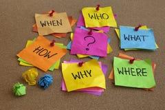 Preguntas por contestar - concepto de la reunión de reflexión Foto de archivo